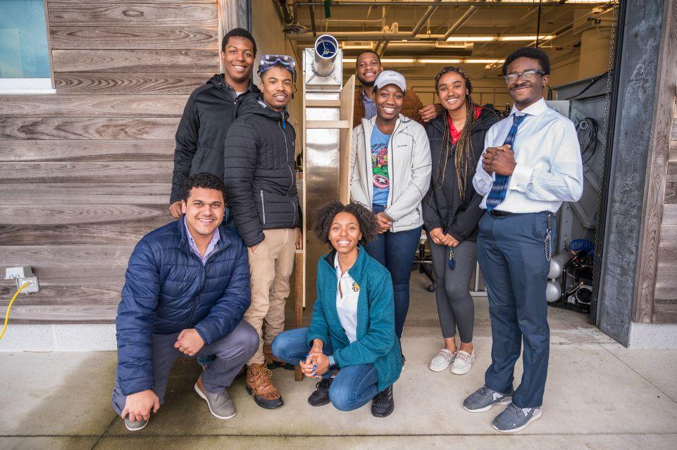 NCA&T Ocean Design Class Visits CSI to Test Oscillating Wave Column